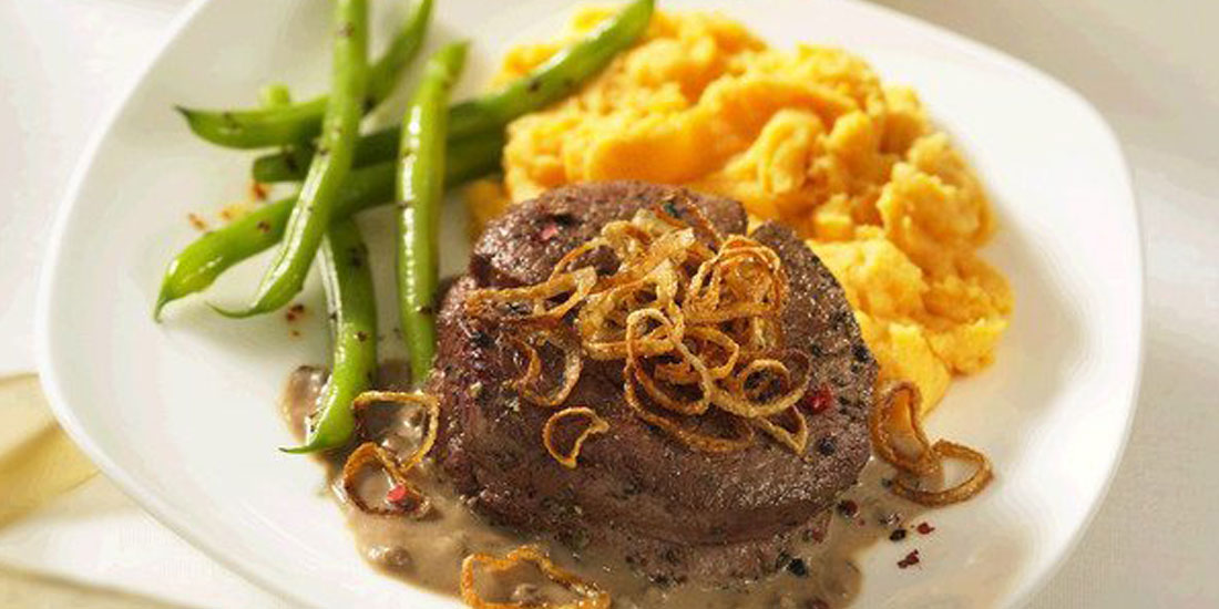 Beef Tenderloins with Peppercorn Sauce and Crispy Shallots