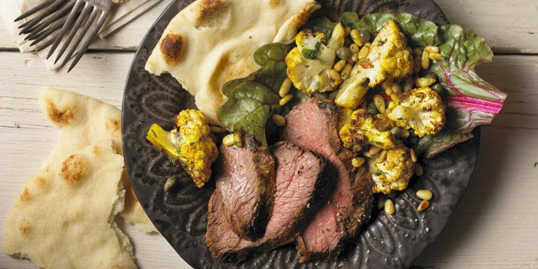 Tandoori Marinating Steak with Roasted Curried Cauliflower