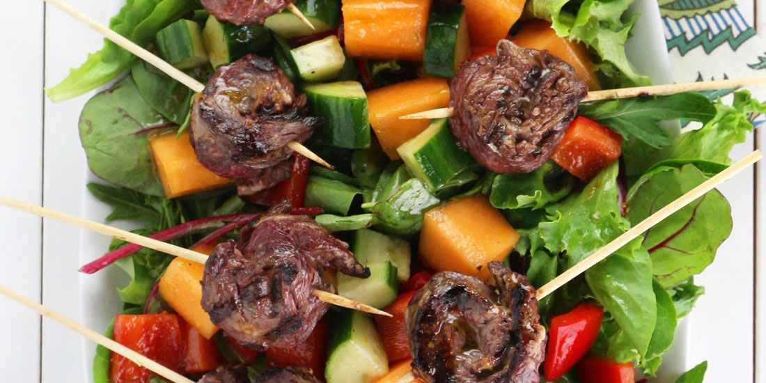 "Beef ""Lollipops"" with Cantaloupe Salad"