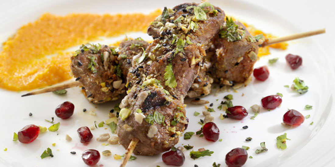 Beef Skewers with Roasted Tomato and Pomegranate Sauce and Dukkah