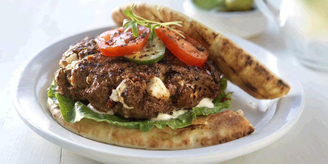 Greek Goddess Inside Out Sirloin Beef Burgers