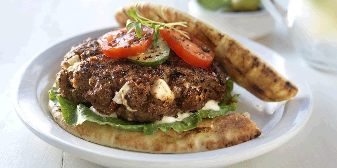 Greek Goddess Inside Out Sirloin Beef Burgers